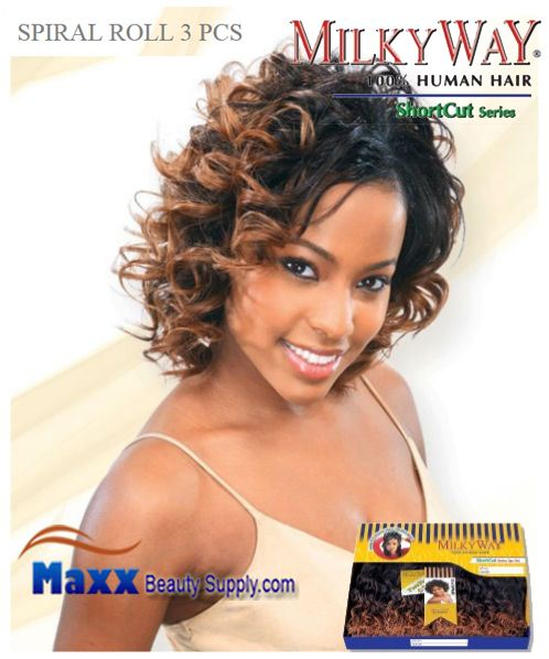 MilkyWay Human Hair Weave Short Cut Series - Spiral Roll 3pcs